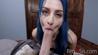 Blue Haired Sister Fucks Brother For A Challenge-