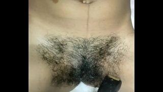 Simmy first time trimming and shaving hair removing with punjabi audio